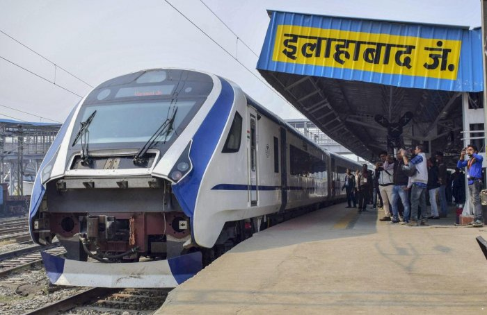 India's fastest train Vande Bharat Express train, Train-18, at Allahabad Railway Junction. (PTI Photo)