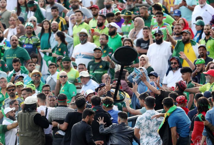 Fans clash during the match between Pakistan and Afghanistan. Photo credit: Reuters