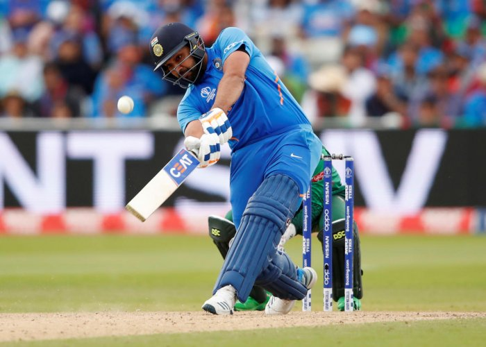 FETCH THAT! India's Rohit Sharma smacks one for a six during his match-winning 104 against Bangladesh in Edgbaston on Tuesday. Reuters