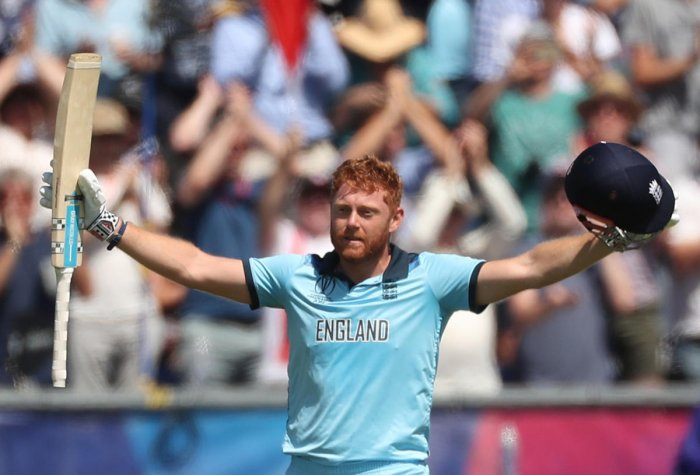 England's Jonny Bairstow celebrates his century. Reuters photo