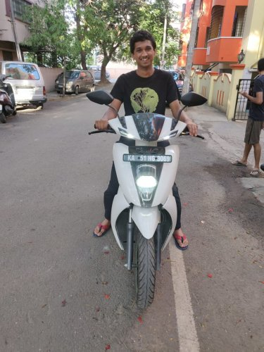Rohan Vijay, BSc science student, rides an Ather 450. He bought it in June, charges it once in three days, and rides from his house in Basavanagudi to St Joseph's College on Langford Road. He says a charge gives him 70 to 80 km.