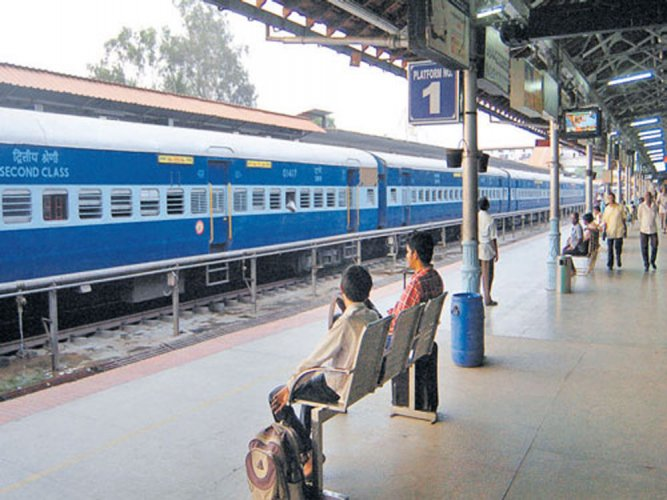 Train services on Bengaluru-Mysuru were disrupted for more than an hour on Thursday afternoon after a tree fell on the overhead electric alignment.DH file photo