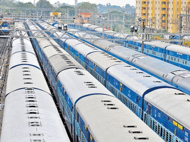 The train collisions have come down to zero in 2018-19, however, the Economic Survey says incidents of fire in trains increased. DH file photo