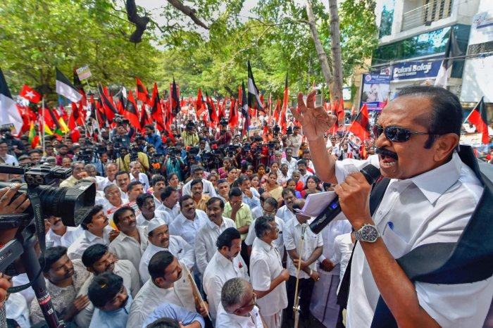 Marumalarchi Dravida Munnetra Kazhagam (MDMK) founder and General Secretary, Vaiko, speaks during a protest rally against the Tamil Nadu Governor Banwarilal Purohit over the release of seven convicts in the Rajiv Gandhi assassination case, in Chennai, Monday, Dec. 03, 2018. (PTI Photo)