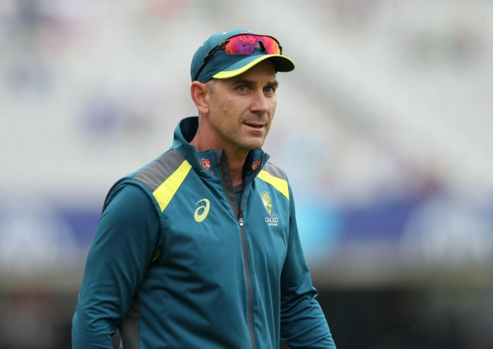 Australia head coach Justin Langer during the warm up before the match Action. Reuters