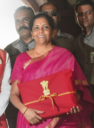 Finance Minister Nirmala Sitharaman arrives at Parliament to present the Union Budget 2019-20, in New Delhi, Friday, July 05, 2019. (PTI Photo)