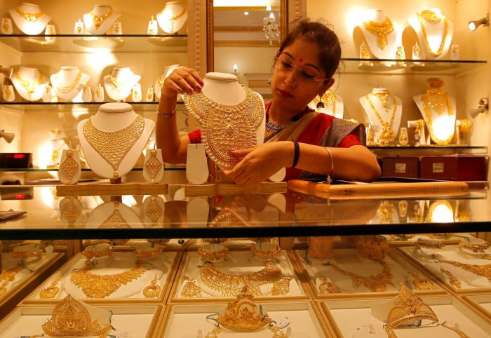 Gold prices on Friday zoomed Rs 590 to Rs 34,800 per 10 gram in the national capital following Budget announcement of increase in custom duty on the precious metal to 12.5 per cent from 10 per cent. Reuters file photo