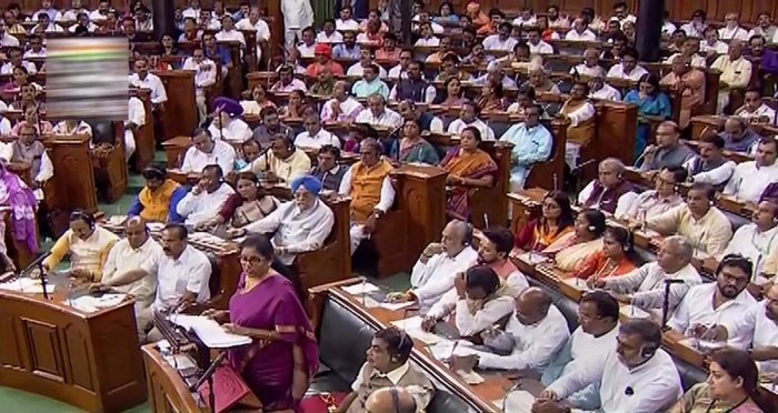 Finance Minister Nirmala Sitharaman presents the Union Budget 2019-20 in the Lok Sabha at Parliament, in New Delhi, Friday, July 05, 2019 (LSTV/PTI Photo)