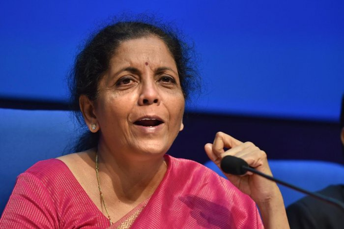Finance Minister Nirmala Sitharaman addresses a press conference after presenting the Union Budget 2019-20, in New Delh. (PTI Photo)