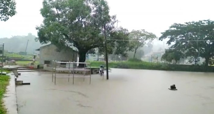 The water level at Triveni Sangama is on the rise in Bhagamandala in Kodagu.