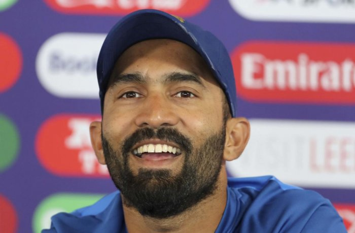 Positive outlook: Dinesh Karthik, having made just one appearance for India in the World Cup, said he always train with the belief of making it into the playing XI. AP/PTI