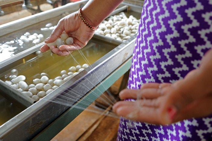 Various stages of production at the silk yarn manufacturing unit in Doddaballapura. DH Photos/ Pushkar V