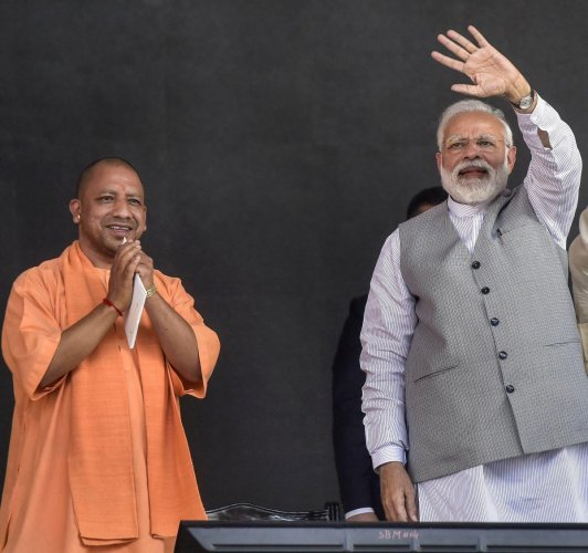 Modi was accompanied by Uttar Pradesh Chief Minister Yogi Adityanath, Bharatiya Janata Party (BJP) working president JP Nadda and the state unit chief of the saffron party, Mahendra Nath Pandey. (PTI File Photo)