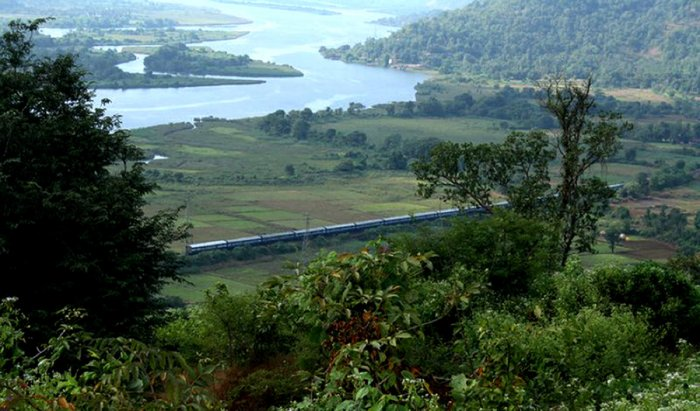 A picturesque stretch of Konkan Railway route. DH File Photo
