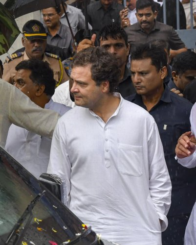 Congress leader Rahul Gandhi appeared before a court here on Saturday in connection with a defamation suit filed against him by BJP leader and Bihar Deputy Chief Minister Sushil Kumar Modi. (PTI Photo)