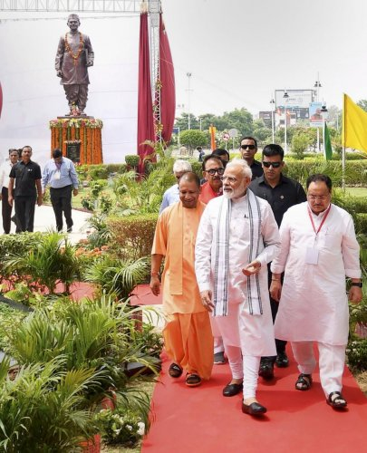 Prime Minister Narendra Modi with Uttar Pradesh Chief Minister Yogi Adityanath and BJP Working President JP Nadda leaves after inaugurating a statue of former PM Lal Bhadur Shashtri, in Varanasi, Saturday, July 6, 2019. (PTI Photo)