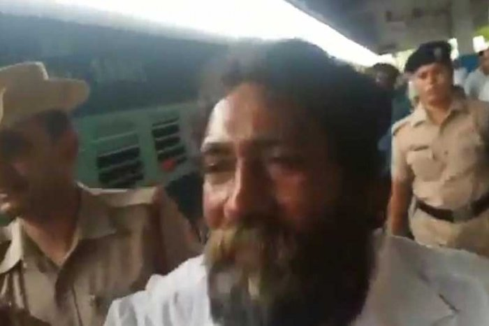 Video grab of Mugilan at Tirupati railway station