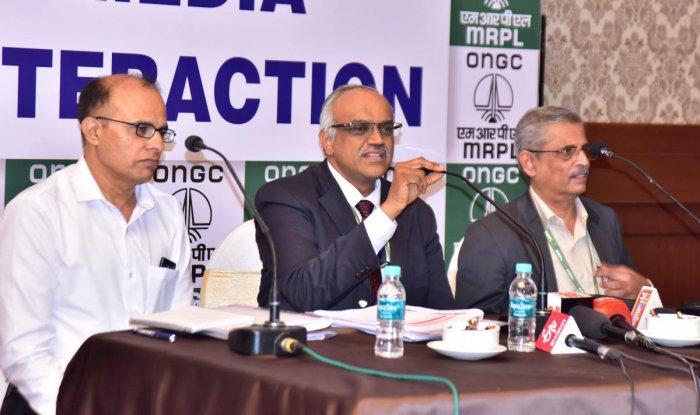 MRPL MD M Venkatesh speaks to mediapersons in Mangaluru on Saturday.