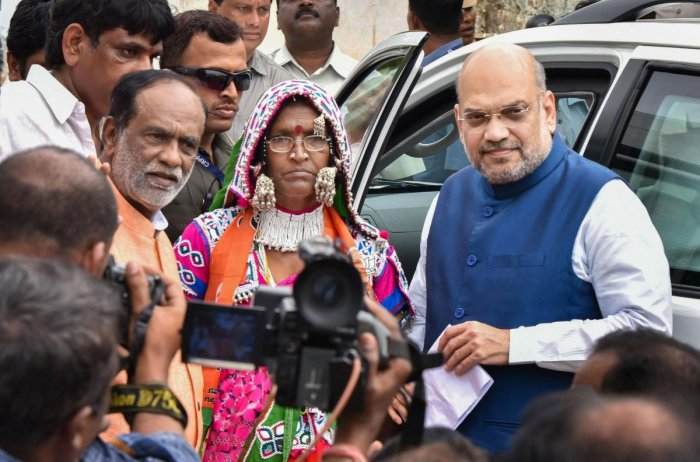 Shah, who held a meeting with key state leaders Saturday night after kicking off the membership campaign, is understood to have told them that 20 per cent vote share meant the party is near power in the state. (PTI Photo)