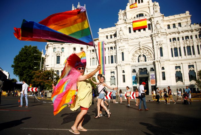 A reveller takes part in the Gay Pride parade in Madrid, Spain. (Reuters Photo)