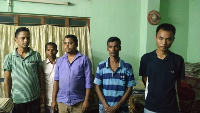 Suspected rhino poachers arrested on Saturday night. Photo credit: Assam forest department.