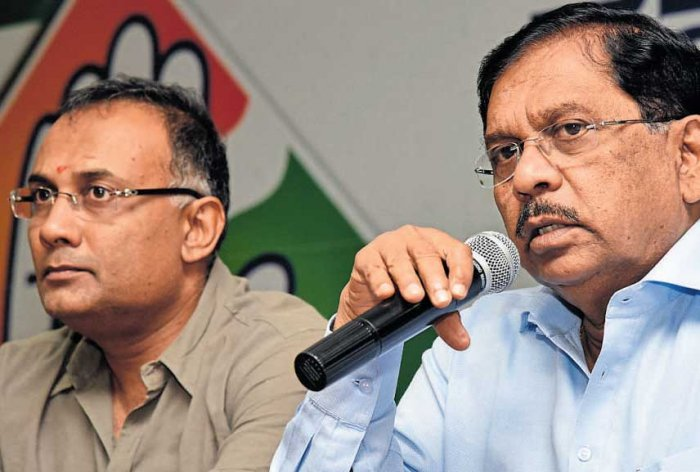 KPCC president Dinesh Gundu Rao and Dy CM G Parameshwara. DH file photo.