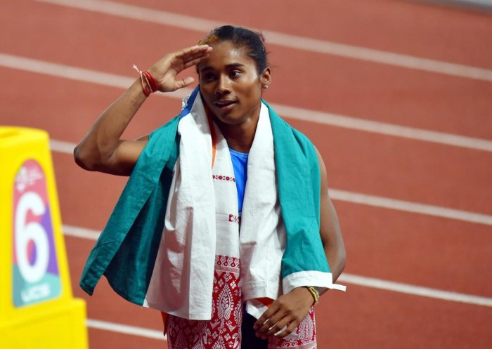 Star Indian sprinter Hima Das claimed her second international gold in women's 200m with a top finish at the Kutno Athletics Meet in Poland. (PTI File Photo)