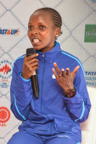 Rose Chelimo, the world champion in marathon, speaks to the media in Bengaluru on Friday. DH Photo/ S K Dinesh