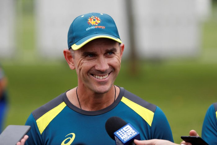 Australia's head coach Justin Langer is interviewed after nets Action Images. (Reuters Photo)