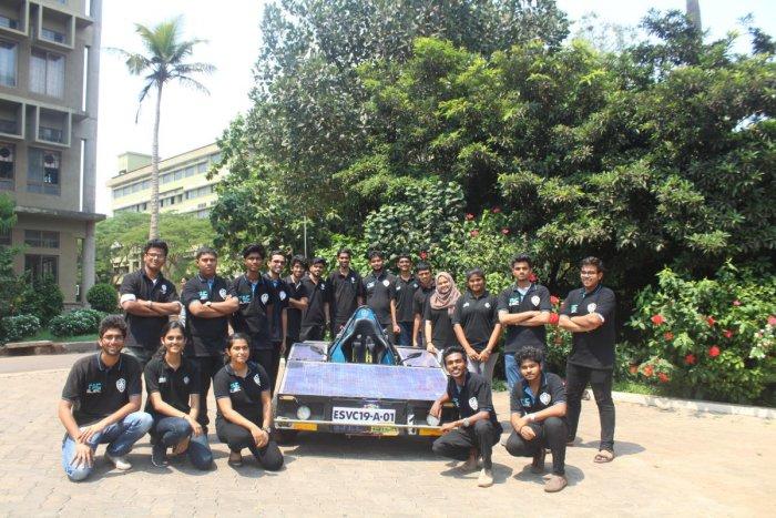 Members of 'Team Achillius' of St Joseph Engineering College (SJEC) seen with their electric solar vehicle prototype.
