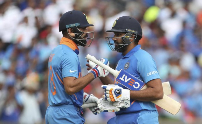 India captain Virat Kohli congratulates Rohit Sharma on scoring a century against Sri Lanka at Headingley (AP/PTI Photo)