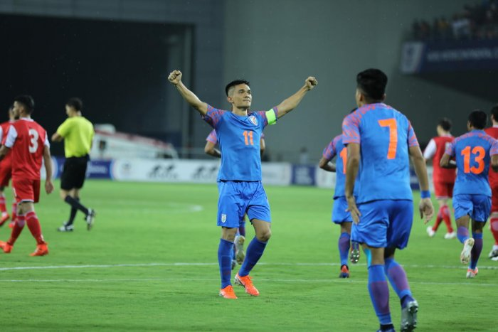 India's Sunil Chhetri celebrates after scoring against Tajikistan in the Intercontinental Cup on Sunday.