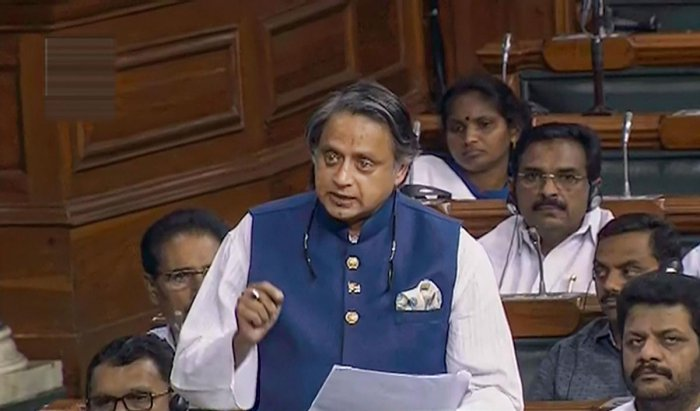 Congress MP Shashi Tharoor speaks in the Lok Sabha during the Budget Session of Parliament, in New Delhi (LSTV/PTI Photo)