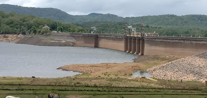 The water level in Harangi reservoir near Kushalnagar on Monday.