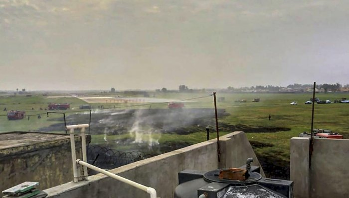 The site where a Jaguar fighter plane's fuel tank and practice bomb were dropped by its pilot in an attempt to land safely, after a bird-hit near Ambala on June 27, 2019. (PTI Photo)