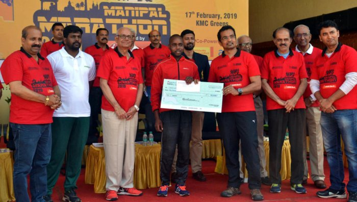 Ibrahim from Kenya won first prize in the 21 kilometres Men's Open category Marathon at Manipal.