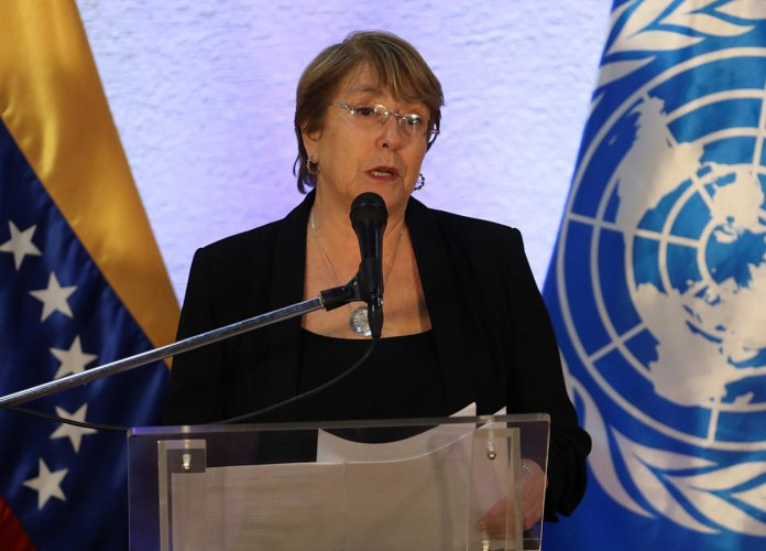U.N. High Commissioner for Human Rights Michelle Bachelet speaks at a news conference after meeting with Venezuela's President Nicolas Maduro in Caracas (Reuters File Photo)