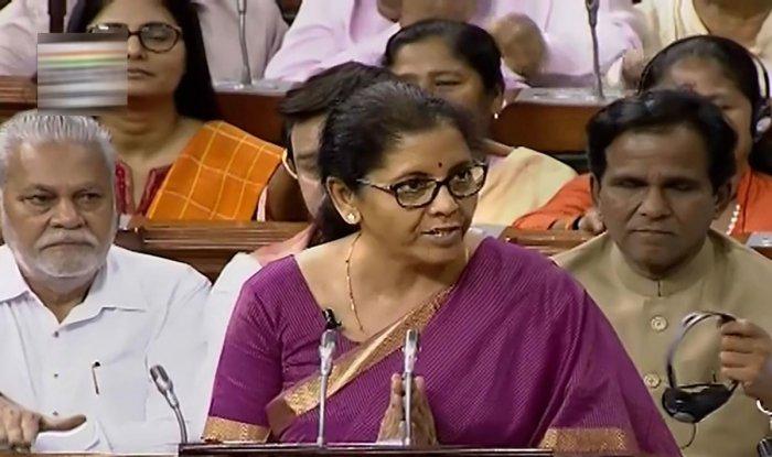Finance Minister Nirmala Sitharaman presents the Union Budget 2019-20 in the Lok Sabha at Parliament, in New Delhi. (PTI Photo)