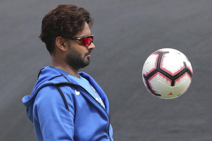 HAVING A BALL India's Rishabh Pant plays football during a training session in Manchester on Monday. AP/PTI