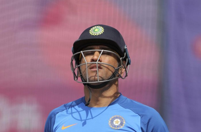 Manchester: India's MS Dhoni leaves after batting in the nets during a training session ahead of their Cricket World Cup semifinal match against New Zealand at Old Trafford in Manchester, England, Monday, July 8, 2019. AP/PTI