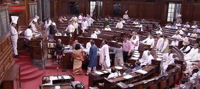 Rajya Sabha proceedings were adjourned for an hour after uproar by opposition Congress over developments in Karnataka. (PTI Photo)