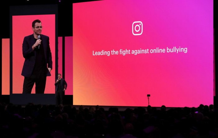 In this file photo taken on April 30, 2019, Instagram product head Adam Mosseri speaks during the F8 Facebook Developers conference in San Jose, California. - Instagram on July 9, 2019 announced new features aimed at curbing online bullying on its platfor