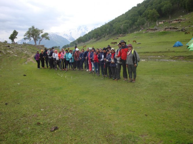 A group of 30, lead by Vasumathi Srinivasan, recently climbed the Great Lakes of Kashmir. (Above) Taken at Vishnusar Lake in the Sindh valley of Kashmir.