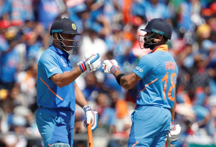 A file photo of MS Dhoni and Virat Kohli batting together. Photo credit: Reuters