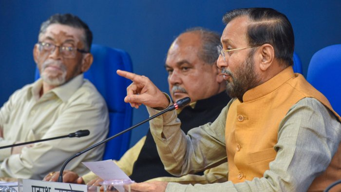 Union Ministers Narendra Singh Tomar (C), Prakash Javadekar and Santosh Gangwar (L) during a cabinet briefing, in New Delhi, Wednesday, July 10, 2019. (PTI Photo)