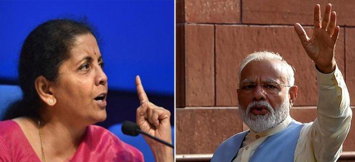 Finance minister Nirmala Sitharaman and Prime minister Narendra Modi. File photo