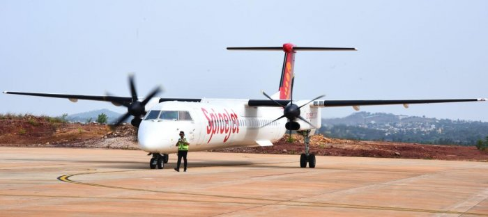 """""""The technician was carrying out maintenance on the landing gear of the Bombardier Q400 plane when the landing door accidentally got closed and he got stuck there,"""" said the official at Kolkata airport. (DH File Photo. For representation purpose)"""