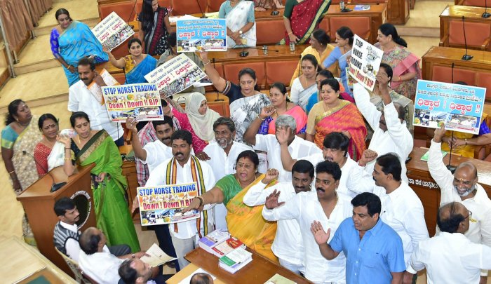 The protest during the starred subject meeting at the council hall prompted Mayor Gangambike Mallikarjun to adjourn proceedings by a day.