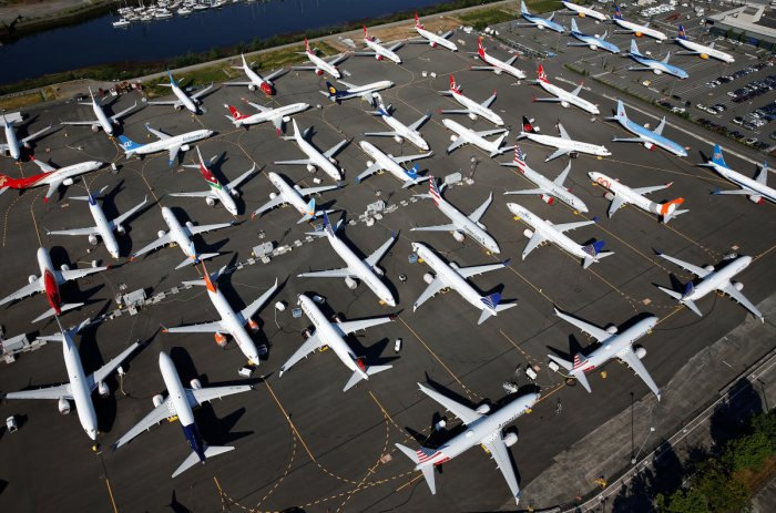 Dozens of grounded Boeing 737 MAX aircraft are seen parked at Boeing Field in Seattle. (Reuters Photo)