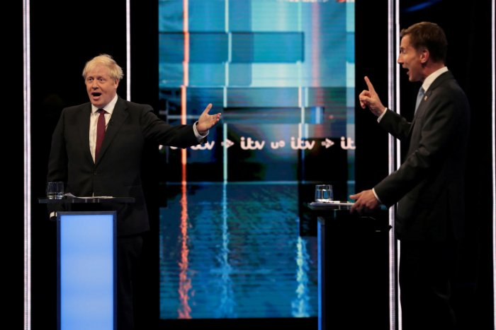 Boris Johnson and Jeremy Hunt, leadership candidates for Britain's Conservative Party, attend Britain's Next Prime Minister: The ITV Debate at MediaCityUK in Salford. (Reuters Photo)